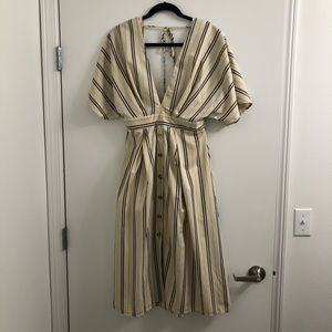 Essue Cream and Brown Backless Dress